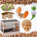 hamster essentials, water bottle, cage, house, toys, food