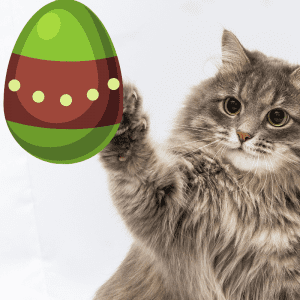 Cartoon Easter egg and cat reaching paw out to it